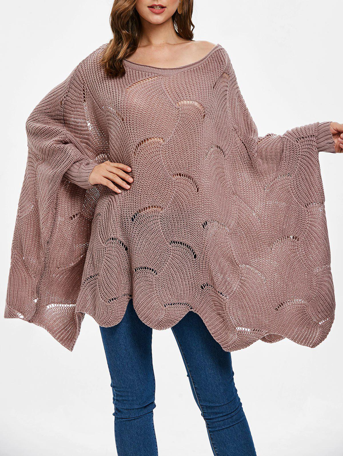 Discount Batwing Sleeve Crochet Sweater