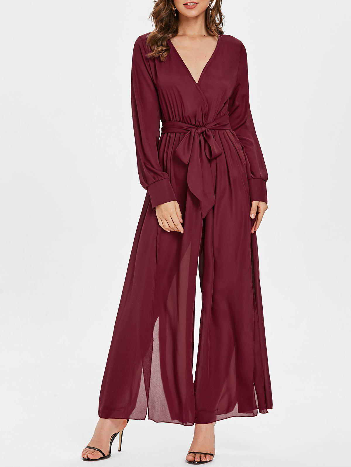 Outfit Plunging Neckline High Slit Wide Leg Maxi Jumpsuit