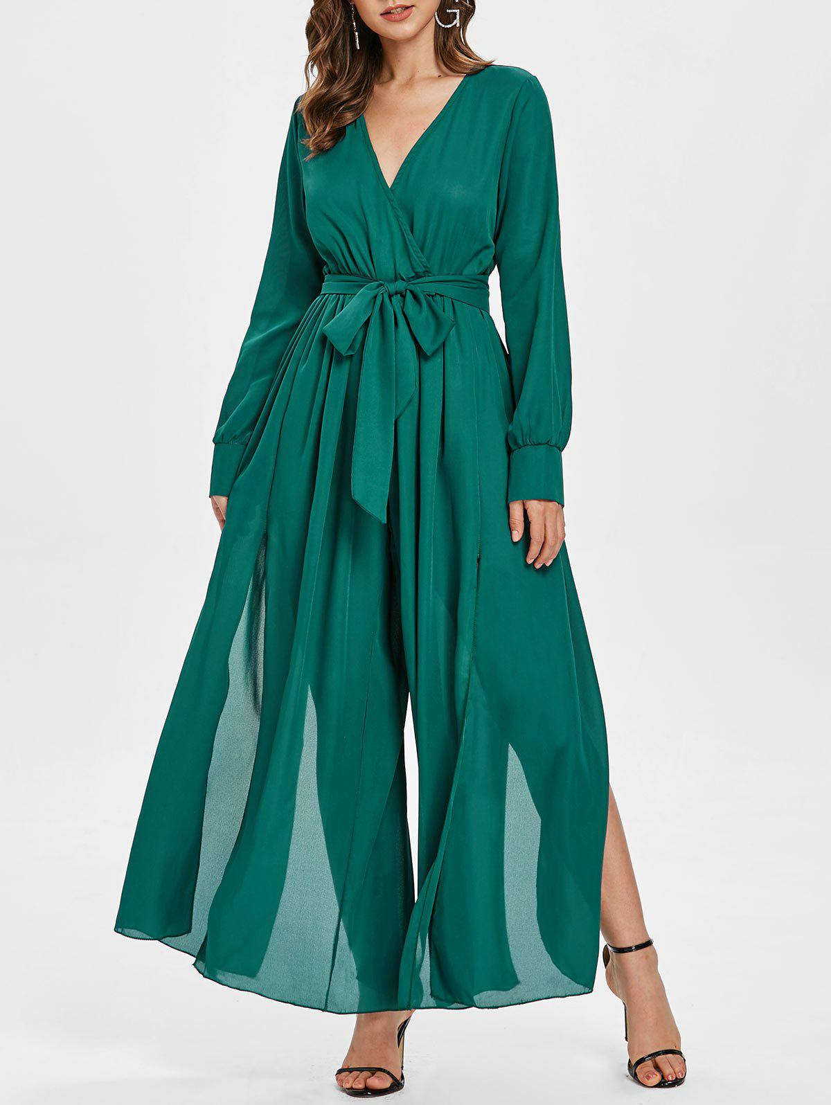 Buy Plunging Neckline High Slit Wide Leg Maxi Jumpsuit