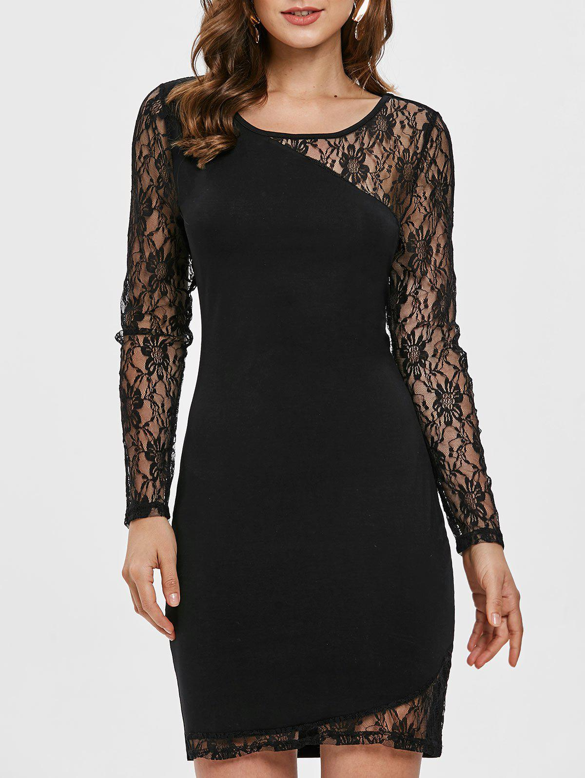 Chic Floral Lace Panel Bodycon Dress