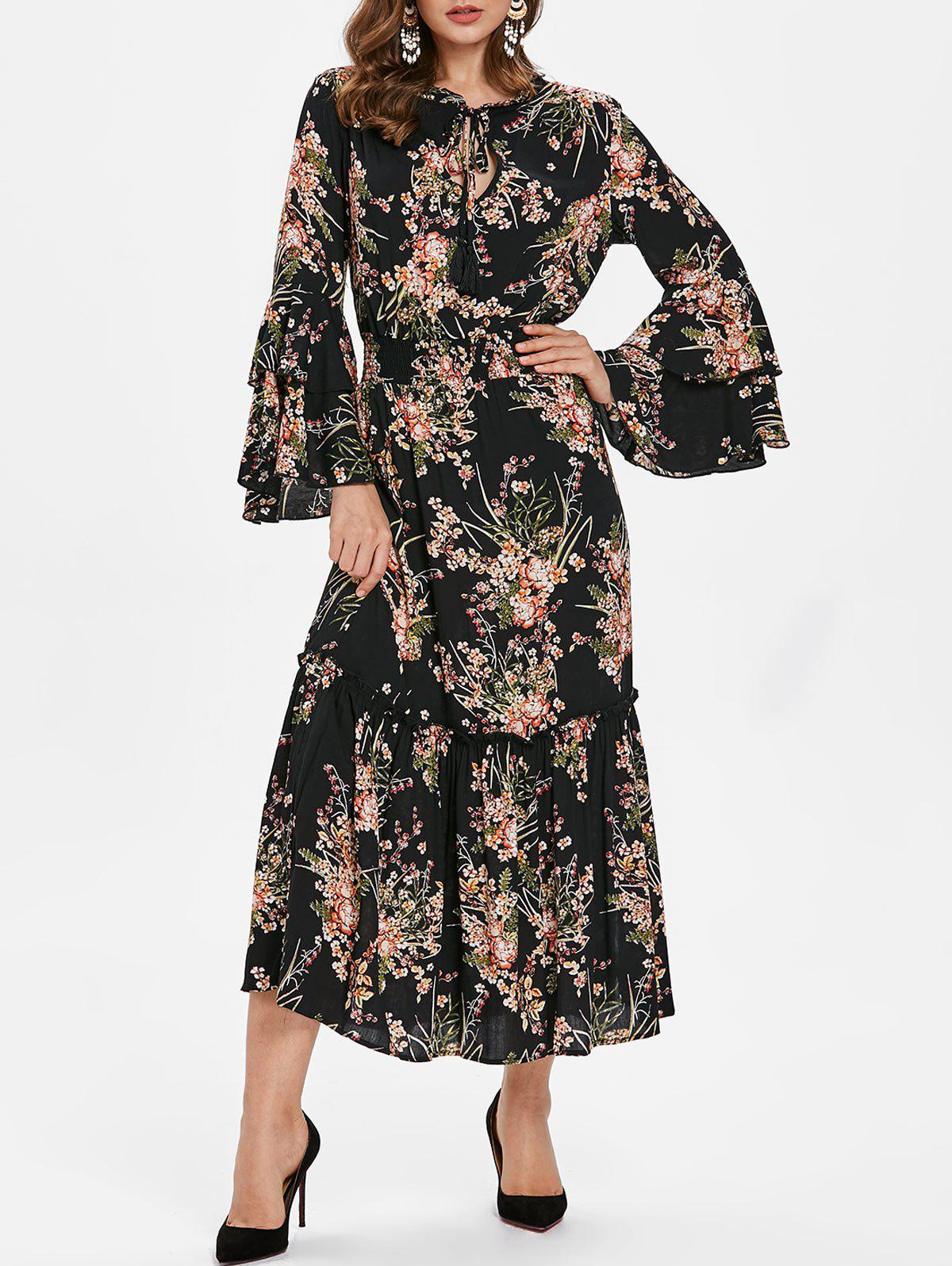 Outfits Tie Collar Tiny Floral Print Maxi Dress