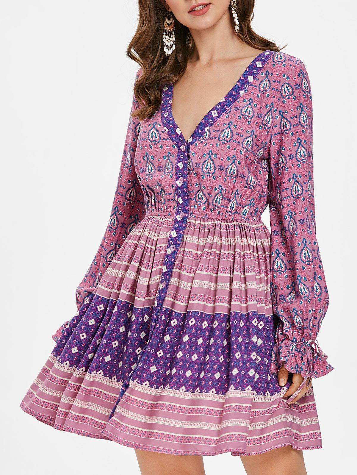 Ethnic Print Flare Sleeve Short Dress, Multi