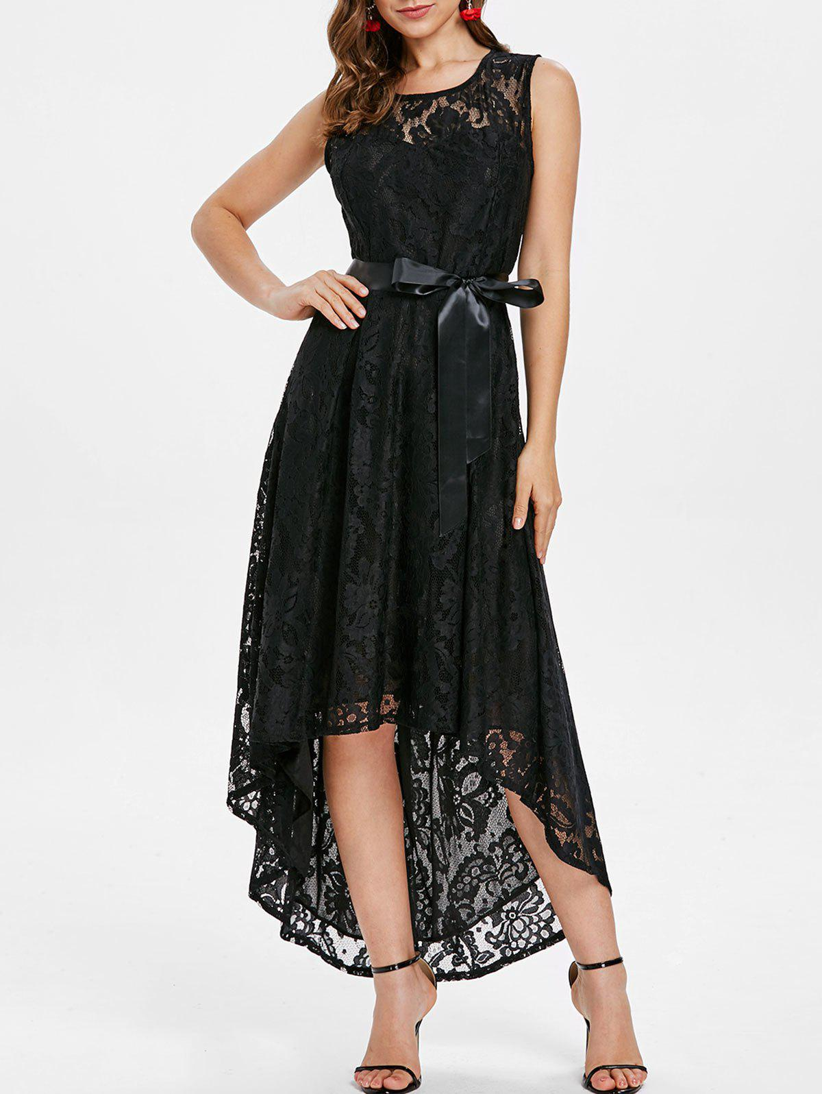 Trendy High Low Lace Maxi Party Dress
