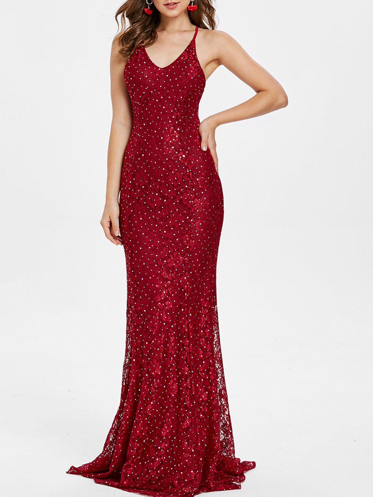 Store Backless Sequins Maxi Party Dress