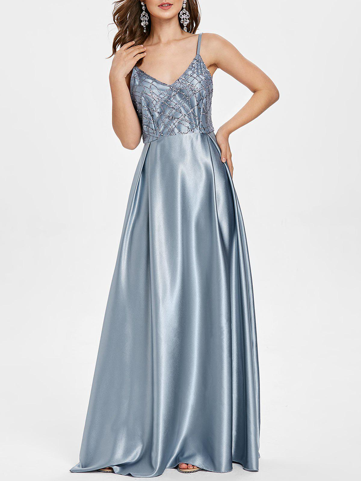Outfit Open Back Sequins Satin Party Dress