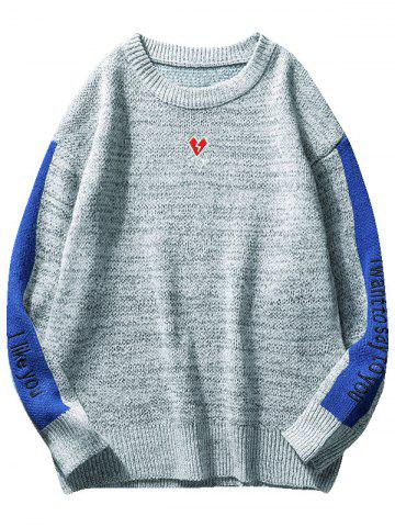 Contrast Letter Heart Embroidery Knit Sweater