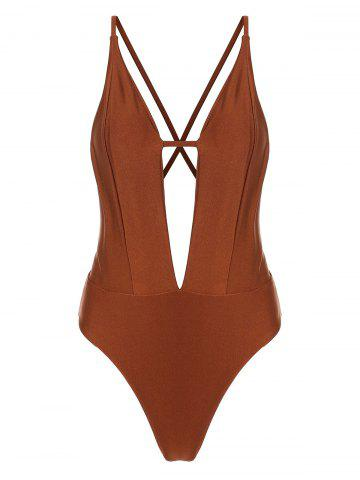 Plunging Neckline Criss Cross Backless One-piece Swimsuit