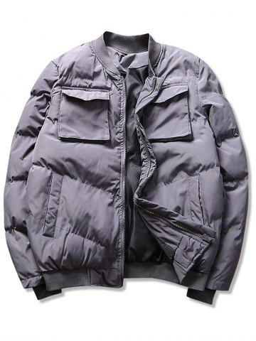 Solid Flap Pockets Puffer Bomber Jacket