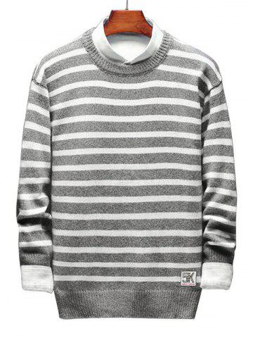 Contrast Horizontal Stripe Pullover Knit Sweater