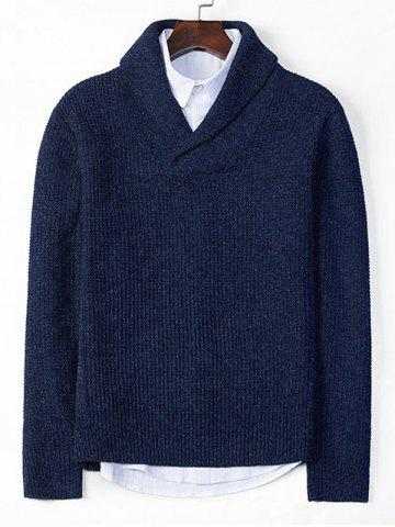 Solid Shawl Collar Casual Knit Sweater