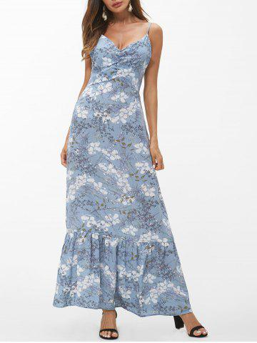 Spaghetti Strap Printed Ruffle Maxi Dress