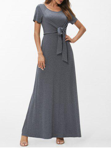Self Tie Short Sleeve Maxi Dress