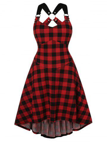 Plus Size High Low O Ring Criss Cross Plaid Dress