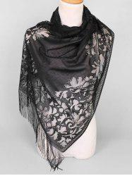 Lace Hollow Out Tassel Design Scarf -