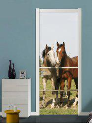 Horse Couple Print Door Art Stickers -