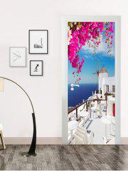 Seaside Palace Print Door Art Stickers -