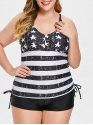 Star and Stripe Print Plus Size Tankini Set -