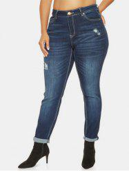 Plus Size High Waist Ripped Jeans -