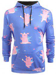 Cartoon Pig Pattern Kangaroo Pocket Hoodie -