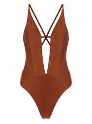 Plunging Neckline Criss Cross Backless One-piece Swimsuit -