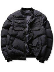 Solid Flap Pockets Puffer Bomber Jacket -