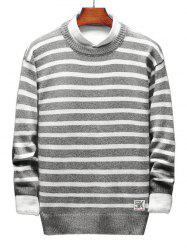 Contrast Horizontal Stripe Pullover Knit Sweater -