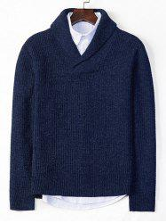 Solid Shawl Collar Casual Knit Sweater -