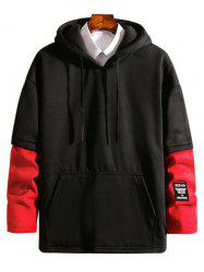Contrast Patchwork Detail False Two Piece Fleece Hoodie -