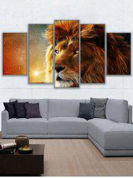 Lion Print Split Unframed Canvas Paintings -