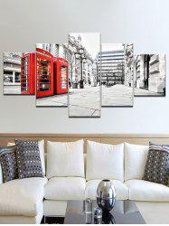 Telephone Booth Street Print Split Unframed Canvas Paintings -