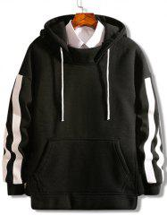 Striped Pouch Pocket Hem Split Fleece Hoodie -