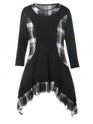 Plus Size Plaid Panel Flounce Asymmetric Tunic Top -