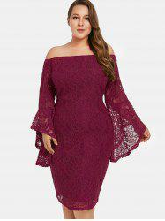 Flare Sleeve Plus Size Off The Shoulder Lace Dress -