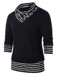 Striped Panel Cowl Neck Top -