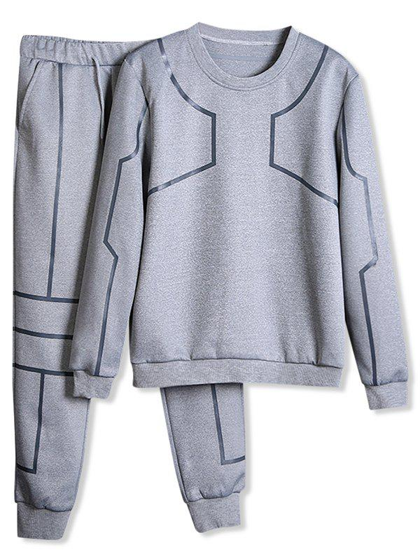 Outfit Solid Lines Print Sports Sweatshirt Pants Suit