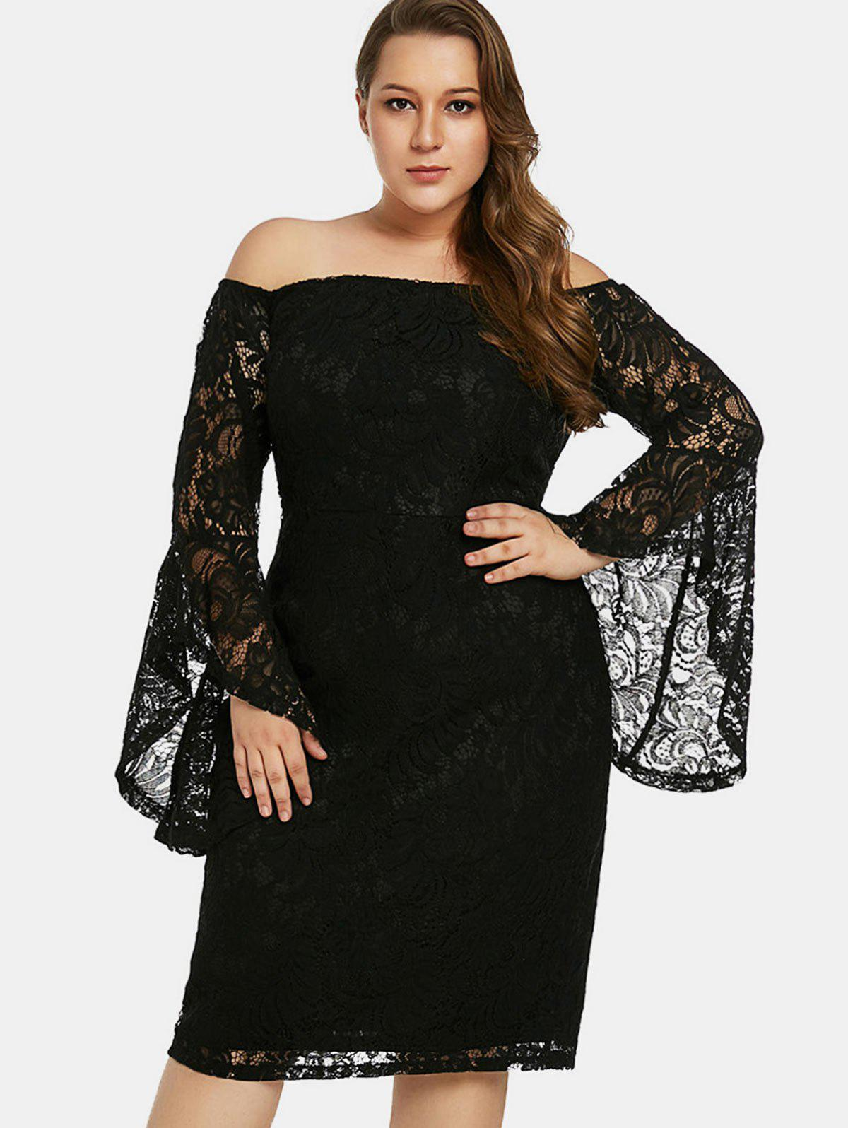 152cac4321 43% OFF] Flare Sleeve Plus Size Off The Shoulder Lace Dress   Rosegal