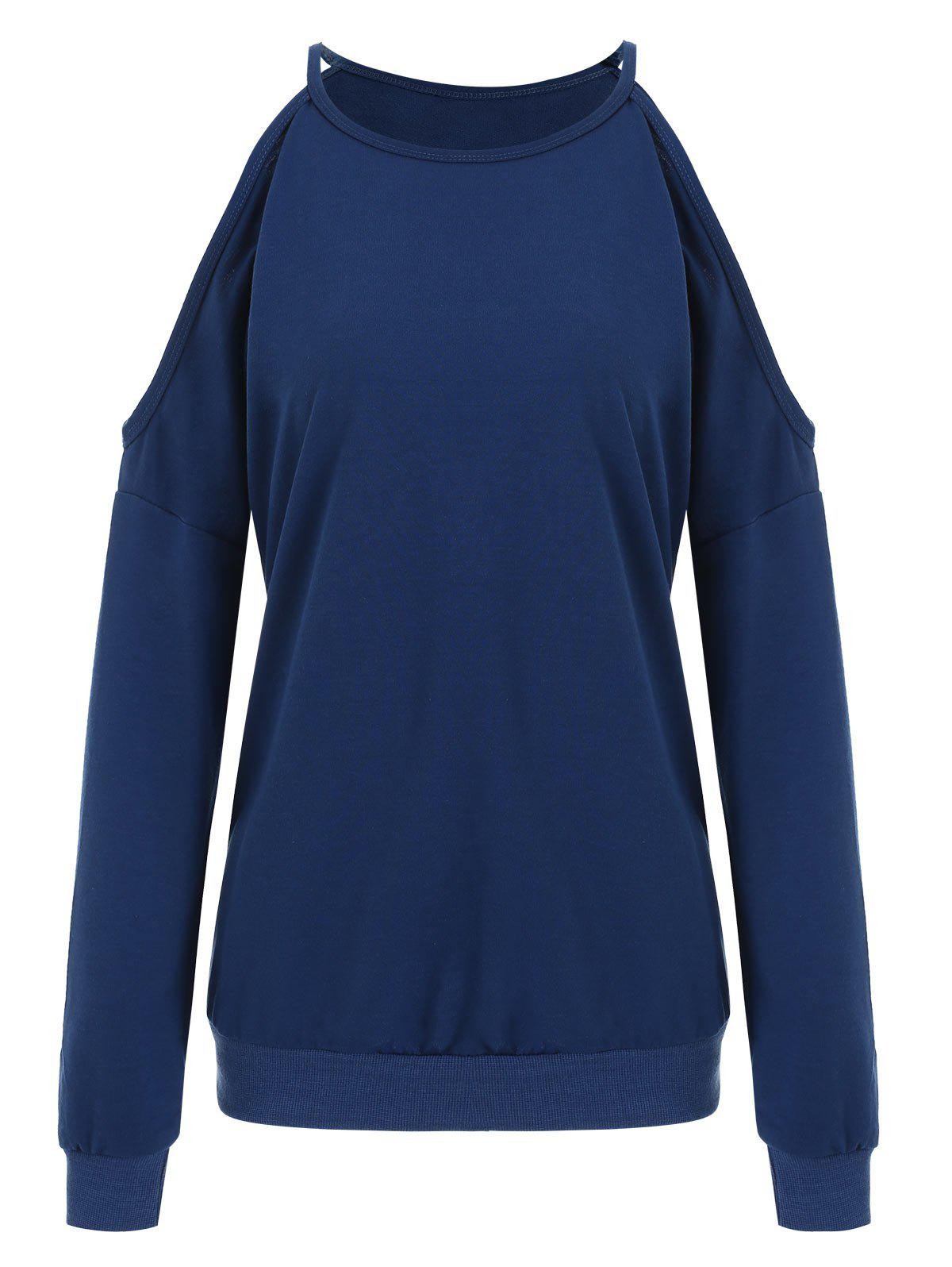 Round Neck Cold Shoulder Sweatshirt