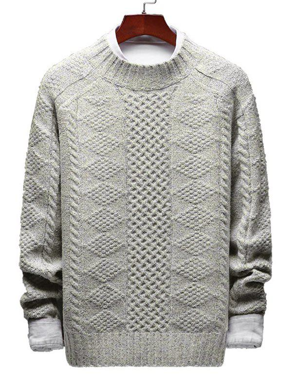 Online Casual Geometric Cable Knit Sweater