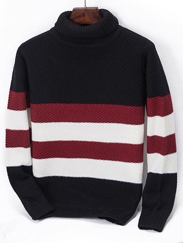 Chic Casual Turtleneck Contrast Striped Knit Sweater