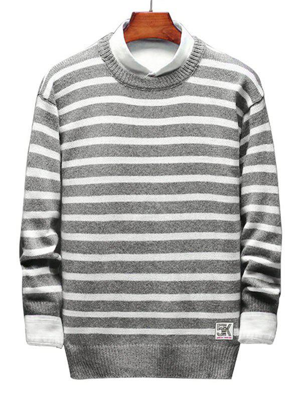 Hot Contrast Horizontal Stripe Pullover Knit Sweater