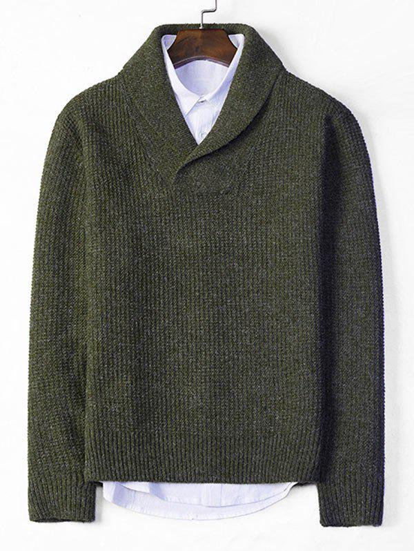 Shop Solid Shawl Collar Casual Knit Sweater