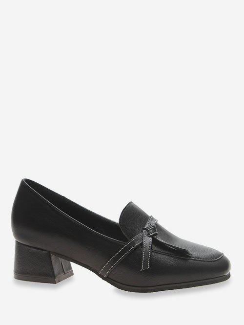 Trendy Contrast Knot Square Toe Shoes