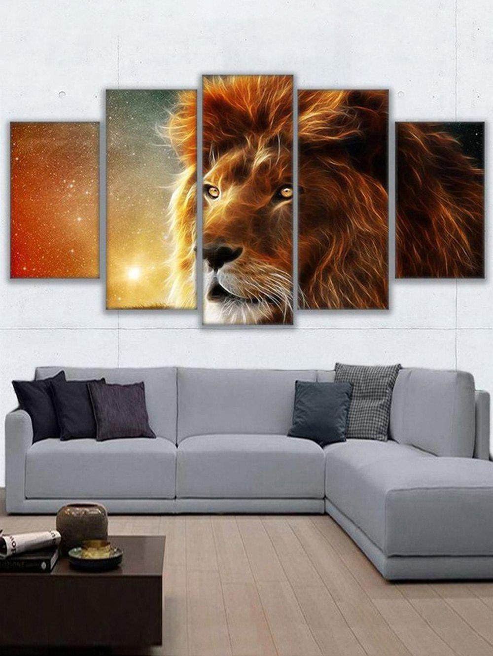 Fashion Lion Print Split Unframed Canvas Paintings