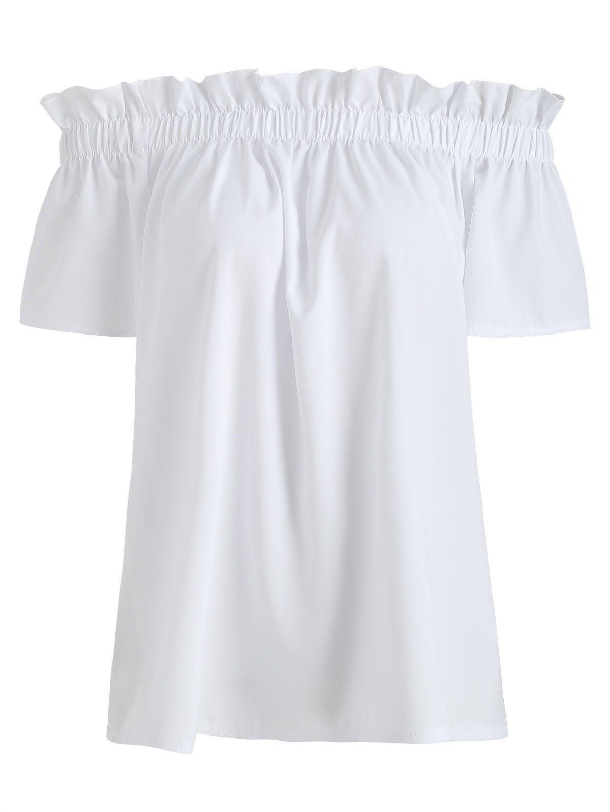 Latest Ruffle Off The Shoulder Solid Top