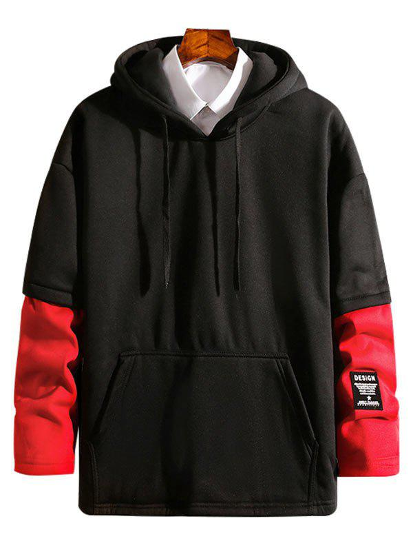 Trendy Contrast Patchwork Detail False Two Piece Fleece Hoodie