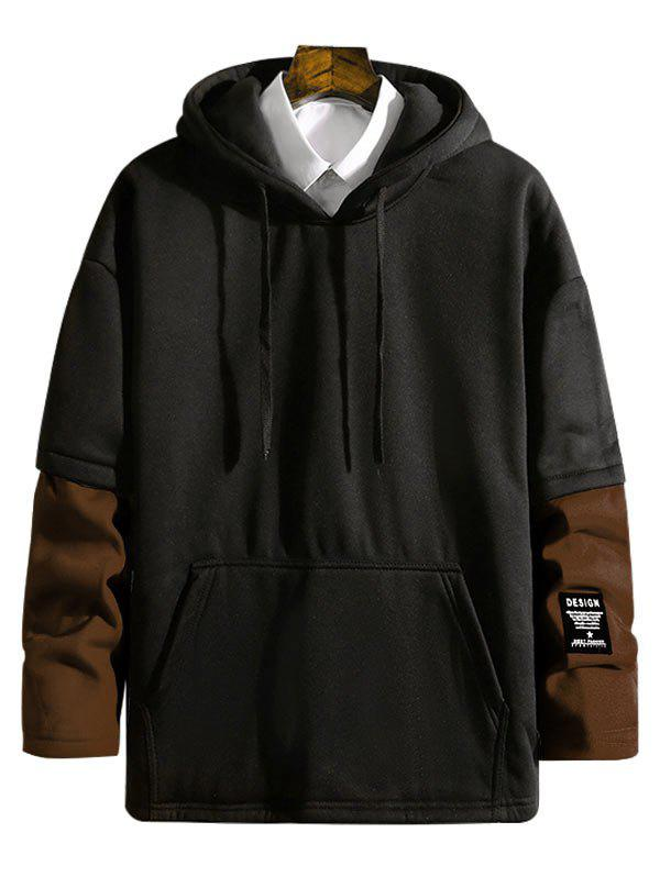 Outfits Contrast Patchwork Detail False Two Piece Fleece Hoodie