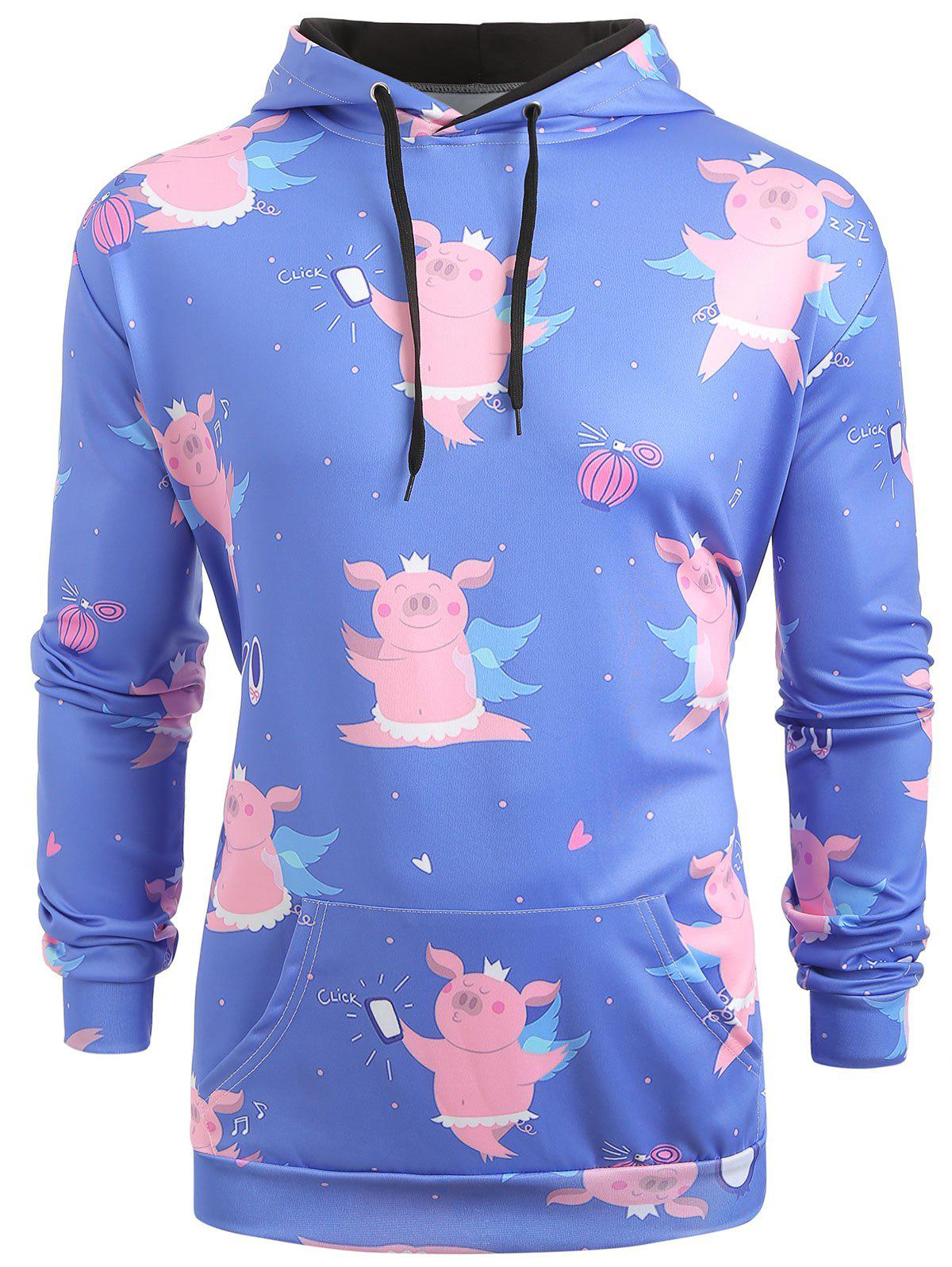 Discount Cartoon Pig Pattern Kangaroo Pocket Hoodie