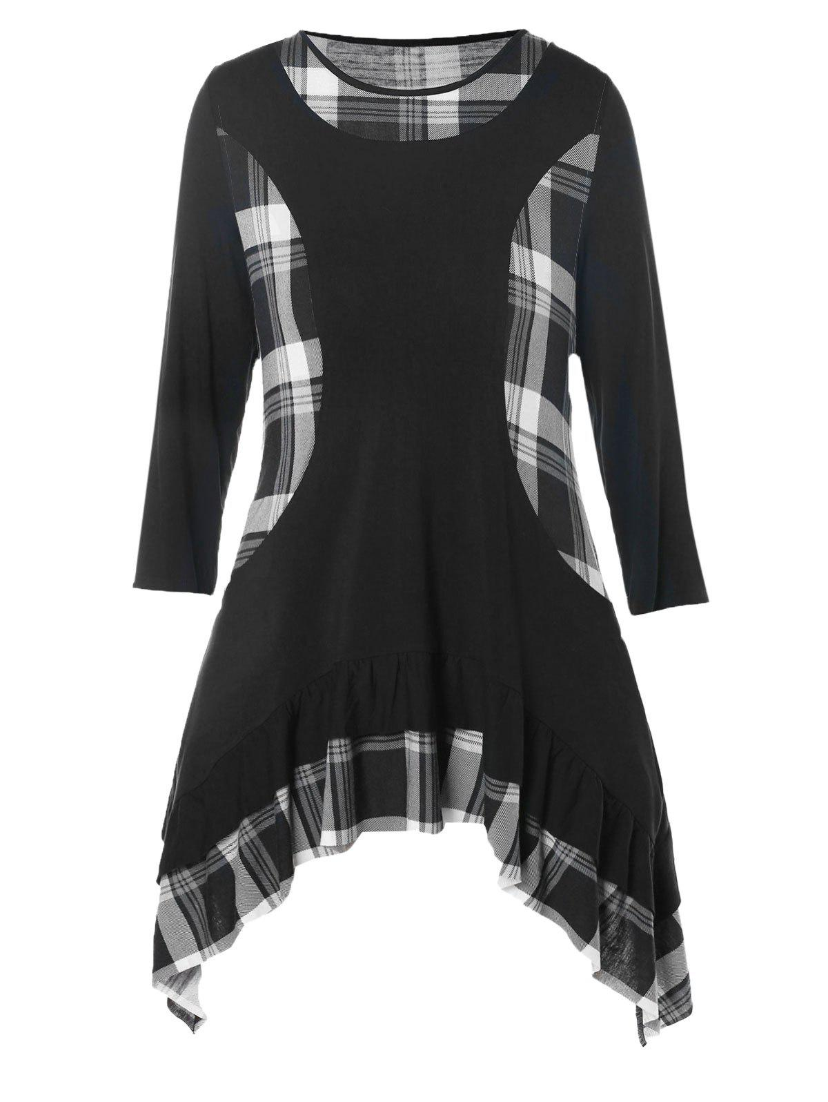 Online Plus Size Plaid Panel Flounce Asymmetric Tunic Top