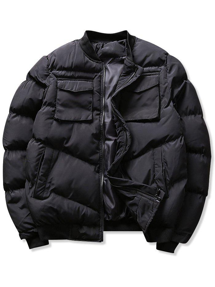 Fashion Solid Flap Pockets Puffer Bomber Jacket