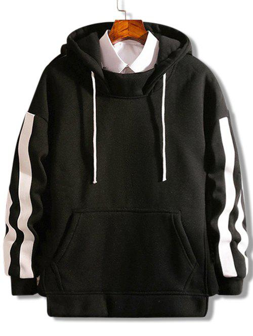 Discount Striped Pouch Pocket Hem Split Fleece Hoodie
